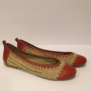 Banana Republic Leather and Crochet Ballet Flats